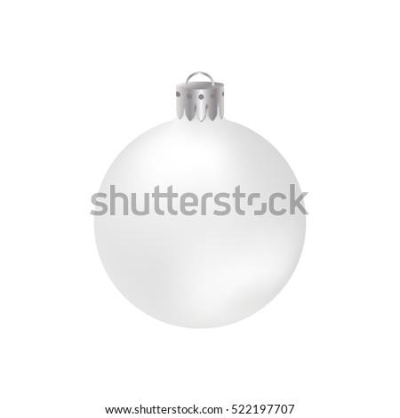 realistic white christmas ball