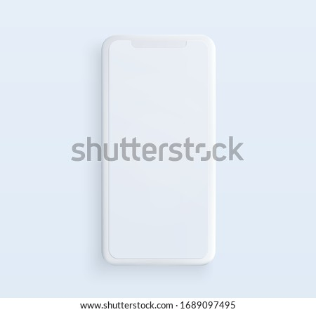 Realistic white clay style smartphone illustration with blank screen. Template for presentation of UI design interface or infographics. Vector cellphone mockup for UX design concept.