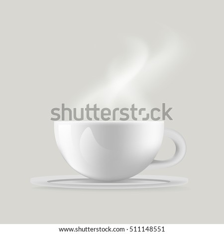 Realistic White Coffee Cup with Steam, Vector, Illustration