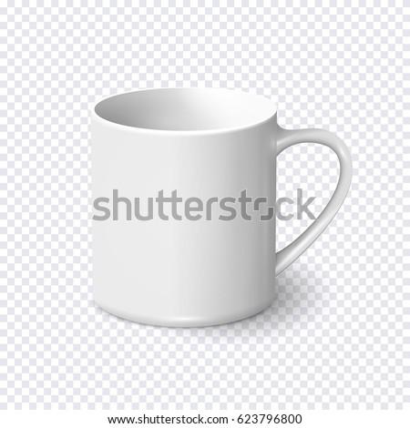 realistic white coffee mug
