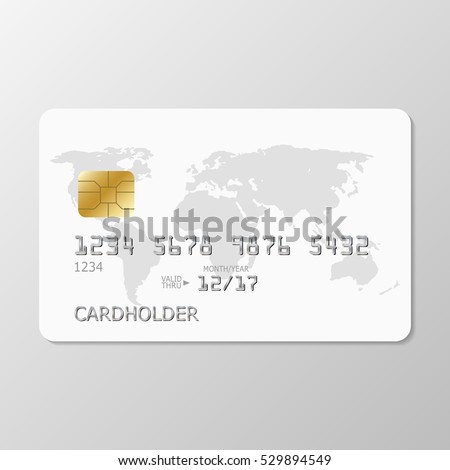 realistic white credit card with world map. Template white credit card for your design. White credit card template on grey background.