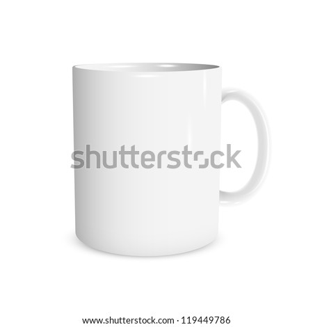 Realistic white cup. Vector illustration