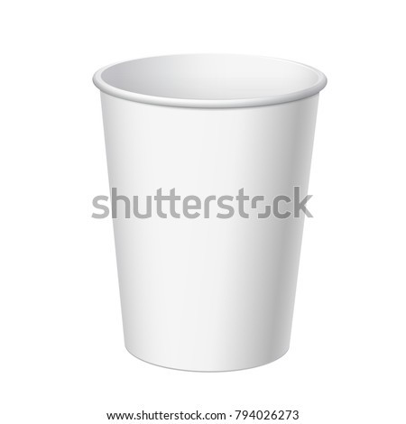 Realistic White Disposable Paper Cup. For various drinks, lemonade, fresh juice, coffee, tea or ice cream. Mock up for brand template. vector illustration.