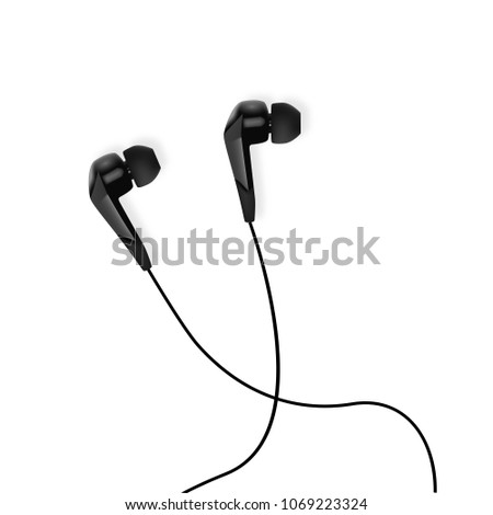 Realistic white earphones. Isolated earbuds – stock vector