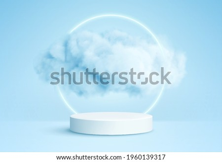 Realistic white fluffy clouds in product podium with neon circle on blue background. Cloud sky background for your design. Vector illustration EPS10