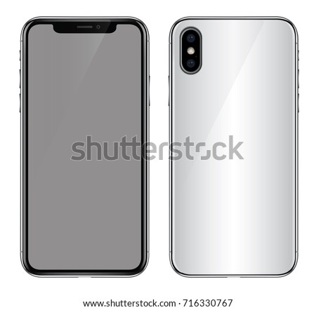 Realistic white glass smartphone vector illustration. New frameless white smart phone design concept.. Made after realize. High quality vector illustration. Application mockup.