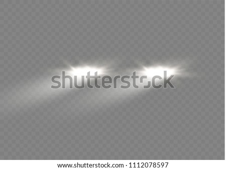 Realistic white glow of round beams of car headlights, isolated against a background of transparent gloom. Vector bright train lights for your design. Easy light flash .Vector illustration.