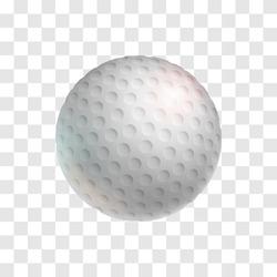 Realistic white golf ball isolated on transparent background. Golf club symbol and design element for tournament announcement. Sports equipment for outdoors playing on field vector illustration.