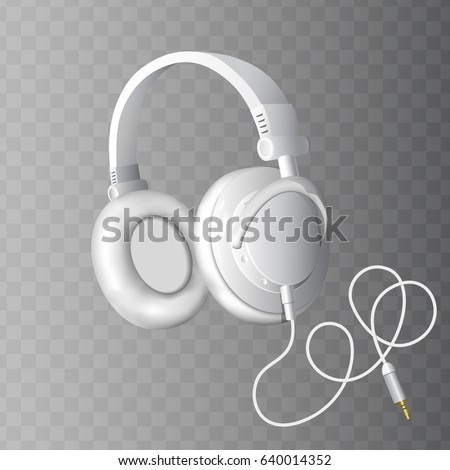 Realistic white headphones on a transparent background. Vector illustration, eps10
