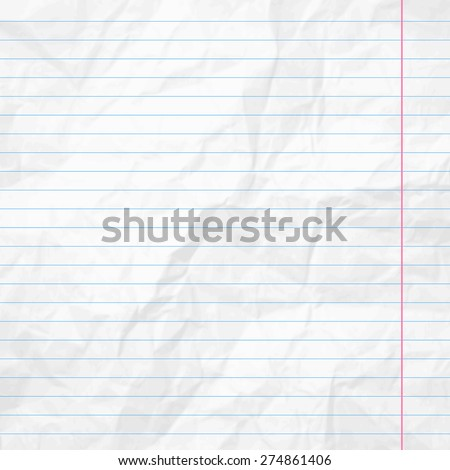 Realistic white lined sheet of notepad crumpled paper background. Vector illustration