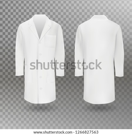 Realistic white medical lab coat, hospital professional suit vector template isolated. Vector illustration.