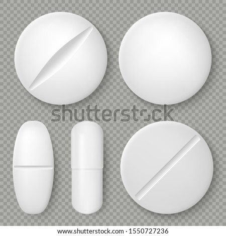 Realistic white medicine pills and tablets isolated on transparent background. Pharmaceutical design object. Healthcare template. EPS 10