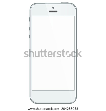 Realistic white mobile phone with blank screen in similar to iphone style isolated on white. Vector EPS10