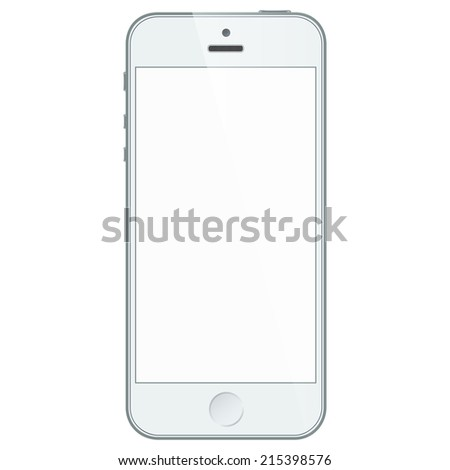 Realistic white mobile phone with blank screen isolated on white. Vector EPS10