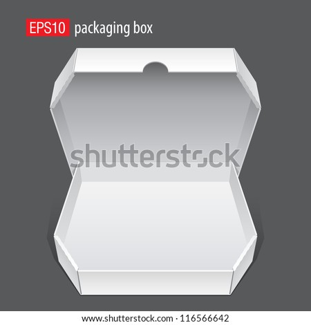 Realistic White Opened Package. Cardboard Box for pizza. isolated on white background. Vector illustration