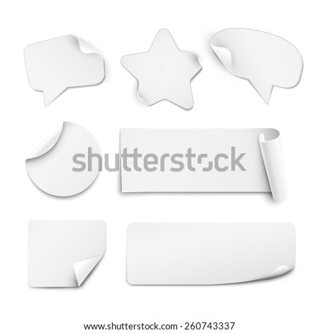 Realistic white paper stickers in shape of circle, star and speech bubble isolated on white background