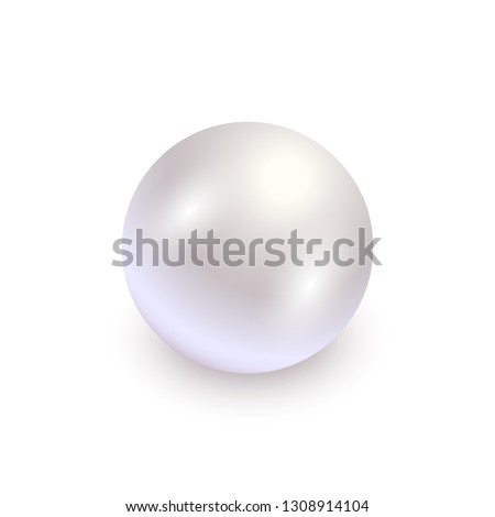 Realistic white pearl with shadow isolated on white background. Shiny oyster pearl for luxury accessories. Sphere shiny sea pearl. Beautiful natural white pearl. Shiny 3D jewel with light effects
