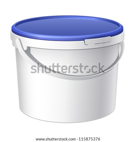Realistic White plastic bucket with blue lid. Product Packing For paints, adhesives, sealants, primers, putty. Vector