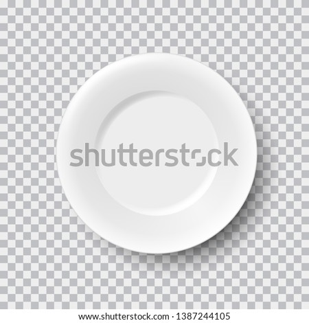 Realistic white porcelain plate isolated on transparent background, vector illustration