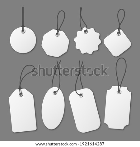 Realistic white price tags collection. Special offer or shopping discount label. Retail paper sticker. Promotional sale badge. Vector illustration.