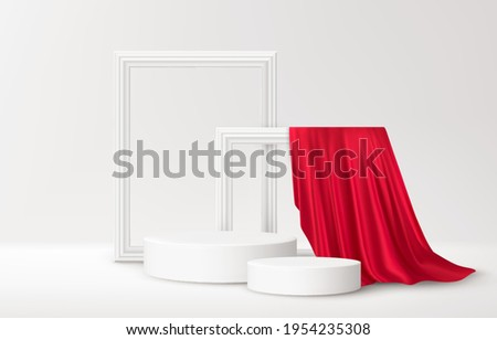 Realistic white Product podium with white picture frames and red silk drapery over white background. Blank background for product advertising. Vector illustration EPS10 Photo stock ©