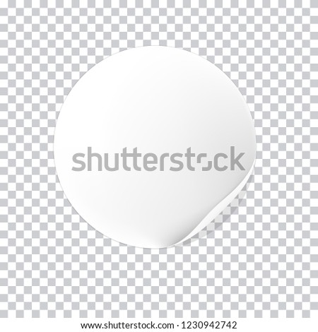 realistic  white round sticker isolated on transparent background, vector illustration