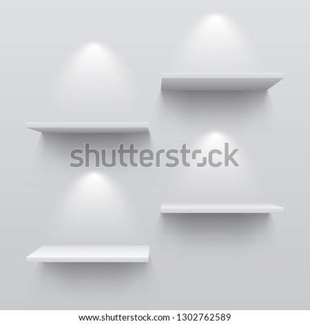 Realistic white shelves. Empty store bookshelf exposition shadows and lights on wall shop indoor. 3D museum interior vector template