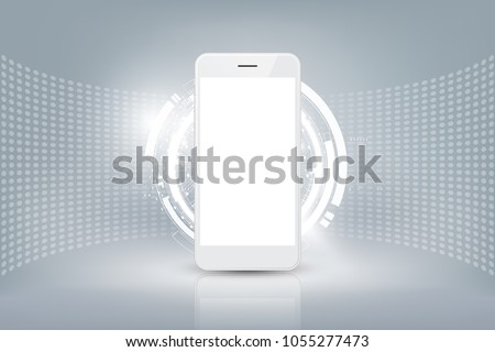 Realistic white smartphone mockup with futuristic technology concept, mobile phone abstract background, vector illustration
