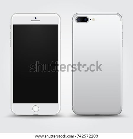 Realistic White Smartphone with Blank Screen isolated on Background. Front and Back View For Print, Web, Application. High Detailed Device Mockup Separate Groups and Layers. Easily Editable Vector.
