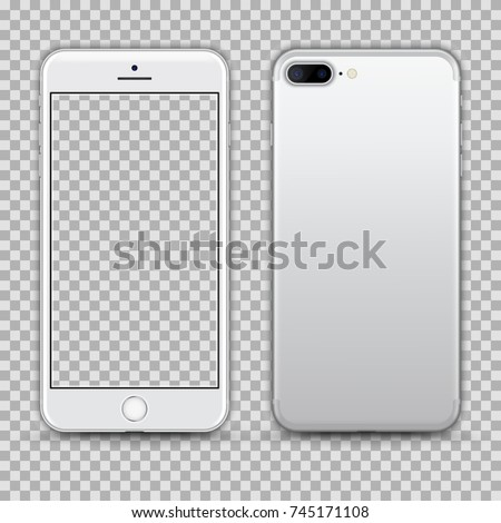Realistic White Smartphone with Transparent Screen Isolated. Front and Back Display View For Print, Web, Application. High Detailed Device Mockup Separate Groups and Layers. Easily Editable Vector.