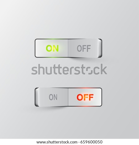 Realistic white switch (ON/OFF) on white background, vector illustration