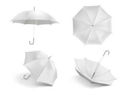 Realistic white umbrella mockup. Blank open fabric parasol, outdoor weather waterproof umbrellas vector template set. Closeup realistic parasol, mock-up umbrella illustration