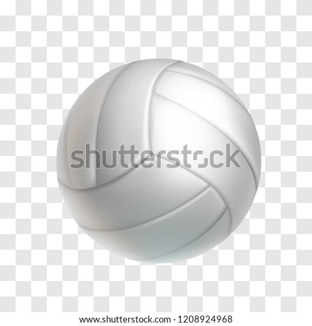 Realistic white volleyball ball isolated on transparent background. Sports equipment for team game vector illustration. Leather ball for beach volleyball or water polo. Outdoors leisure and activity