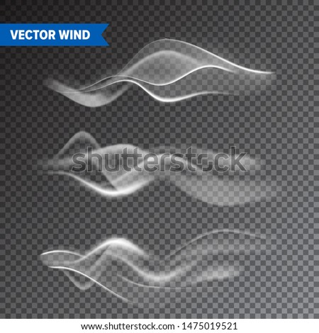 Realistic Wind Set on Transparent Background. Vector Vapor in Air, Smoke Steam Flow. Fog, Mist Effect.
