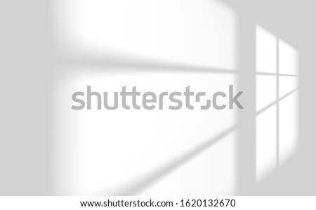 Realistic window light and shadow. Shadow overlay effect. Long shadow light on wall. Scenes of natural lighting. Blank background for design. Realistic vector illustration