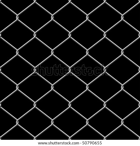 Realistic wire chainlink fence seamless vector texture with background.