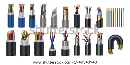 Realistic wires. Flexible electric cables with different isolation types. 3D coaxial bundles of twisted colorful power cords. Stranded electrical conductors with metal core, vector set ストックフォト ©