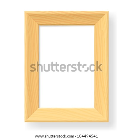 Realistic wooden frame. The form number two.  Illustration on white background