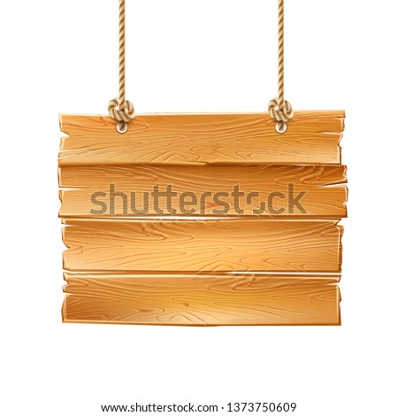 Realistic wooden hanging signage. Rustic signpost for country design. Vintage blank signpost with wood texture. Arrow road guidepost, symbol of adventure and navigation. Vector illustration