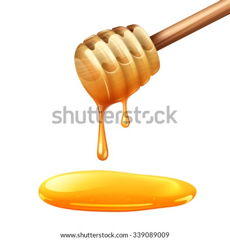 Realistic wooden honey stick with dense yellow drops vector illustration