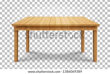 realistic wooden table on transparent background. wood table, 3d. Element for your design,game, advertising.vector illustration. stock photo