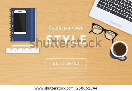Realistic workplace organization. Top view with textured table, laptop, smartphone, diary, glasses, and coffee mug. Work desk for office with stationery elements on the table