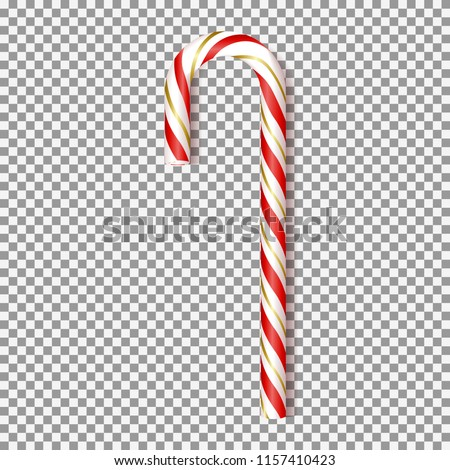 Realistic Xmas candy cane isolated on transparent backdrop. Vector illustration with red and gold sweet for greeting card on Christmas and New Year.