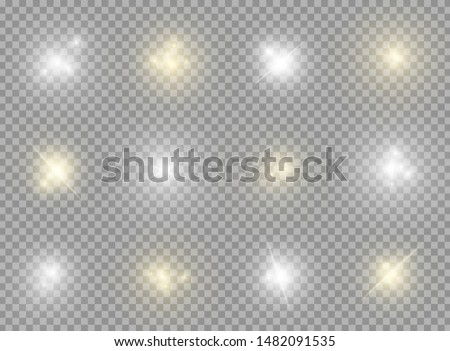 Realistic yellow and white shine and glow effects big pack isolated on transparent background. Sparkles and explosion effects. Stars and light beams. Vector illustration