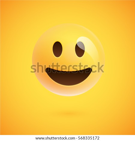 realistic yellow emoticon in