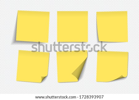 realistic yellow sticky notes