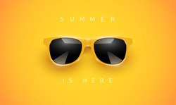 Realistic yellow sunglasses on yellow background with text, vector illustration