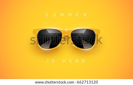 realistic yellow sunglasses on