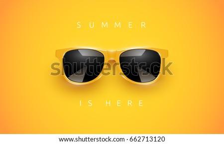 realistic yellow sunglasses on