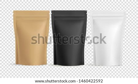 Realistic Zip Package mockups on transparent background for advertising and presentation. Black and White coffee Zip package mock-up  for logo and brand design. Vector 3d illustration
